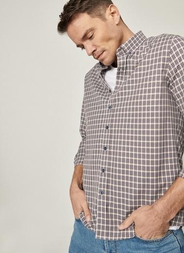 AC&Co / Altınyıldız Classics Tailored Slim Fit Dar Kesim Düğmeli Yaka Kareli Gömlek 4A2021100174 Gri